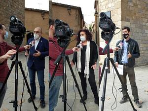 Roda de premsa sobre patrimoni, amb el portaveu Antoni Garcia, la regidora Lluïsa Carmona i l'activista Bernat Calvo
